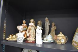 A mixed collection of figurines and dolls/display tea services including Coalport.