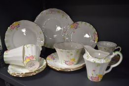 A collection of vintage Paladin china having hand tinted floral pattern and gilded edging