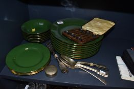A mixed lot of cutlery including boxed plated spoons with novelty coffee bean details to ends, and a