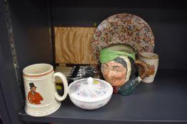 A mixed lot of items including Royal Doulton Toby style jug,Maling ware footed bowl,fish knives