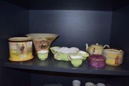 A selection of Royal Doulton AF and a Coalport cabinet set comprising of handled bowl,cup and jug
