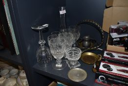 A mixed lot of vintage glasses and metal wares including hammered dish and similar oriental styled
