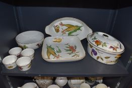A collection of Royal Worcester Evesham serving bowls, ramekins and a tureen.