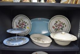 A mixed lot of items including Cake stand,tureens ad Portemeirion plates.