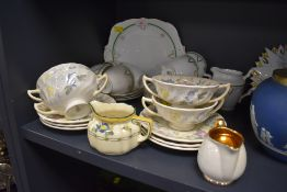 A mixed lot of ceramics including Royal Doulton Symphony double handled cups and saucers,plates