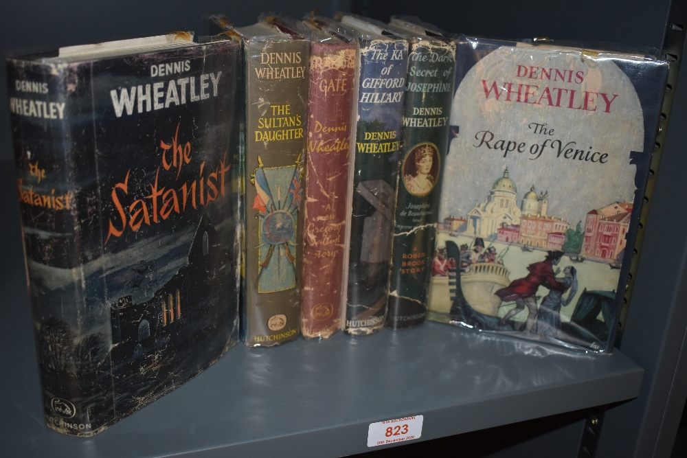 Literature. Dennis Wheatley. A selection; first editions in dust wrappers. Fair - VG. (6)