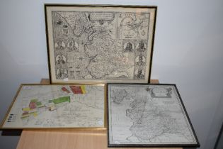 Maps. A small selection. An uncoloured Robert Morden's Lancashire; an early 20th century reprint