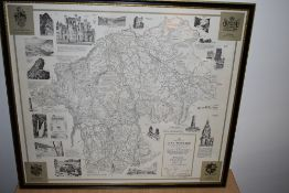 Map. Wainwright - Westmorland. 4th edition. Not coloured. Framed and glazed. (1)