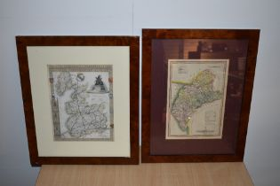 Maps. Two county maps - Moule's Lancashire c.1840 & J. Wallis: Cumberland published by S. A. Oddy,