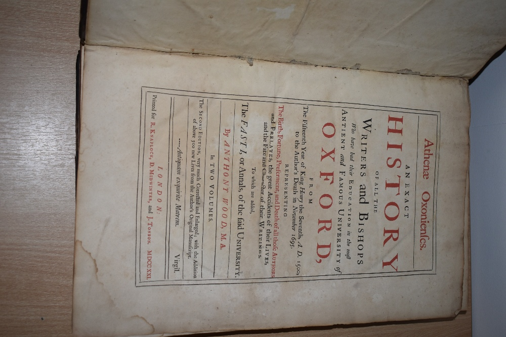 Antiquarian. Wood, Anthony - Athenæ Oxonienses. An Exact History of all the Writers and Bishops - Image 2 of 2