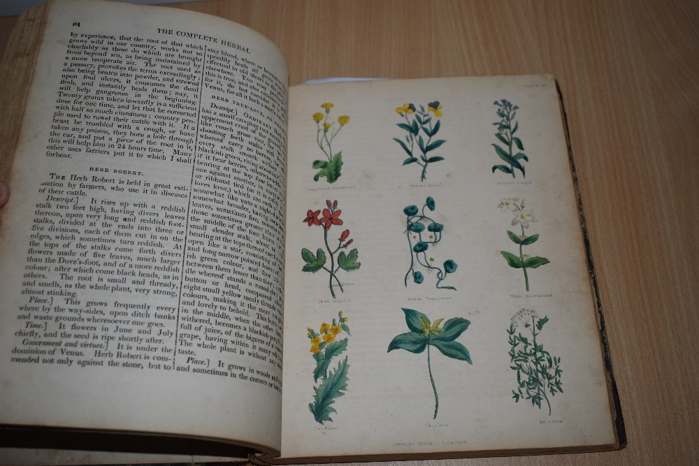 Antiquarian. Culpeper, Nicholas - The Complete Herbal. London: Thomas Kelly, 1843. With 20 hand- - Image 3 of 4