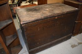 A vintage stained frame blanket box, bears name E S Holland, later green beize lined interior,