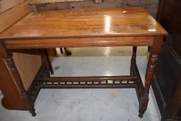 A Victorian mahogany side table, top stained, approx. width 91cm