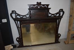 A Victorian stained frame overmantel mirror, width approx. 130cm