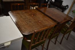A nice quality reproduction Regency extending dining table, and a set of six (four +two)