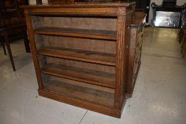 An early 20th Century oak bookcase, width approx. 107cm