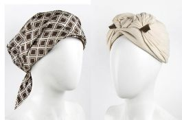 CESARE CANESSA TWO HATS 50s / 60s A lot of 2 hats: a wool turban hat, a silk scarf hat. General