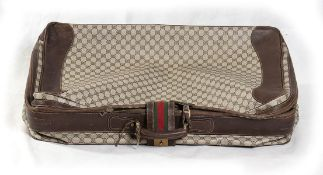 GUCCI CANVAS AND LEATHER SUITCASE 70s Canvas and leather suitcase General Conditions grading C (