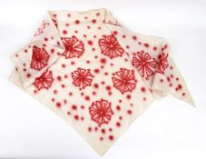 GERMANA MARUCELLI HANDKERCHIEF Late 60s Fuchsia on ivory silk handpainted handkerchief by the artist