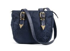 GIANNI VERSACE CANVAS BAG 90s Dark blue logo canvans, leather handle, gilded hardware bag General