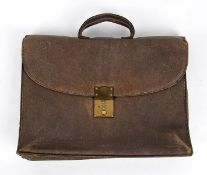 GUCCI LEATHER BRIEFCASE Late 70s Brown leather briefcase General Conditions grading C (needs