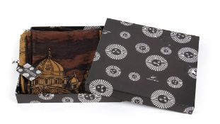 FORNASETTI WOOL AND SILK SCARF 80s Wool/silk scarf, Rome skyline print, Original box General