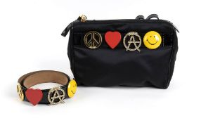 MOSCHINO REDWALL BAG AND BELT 90s A Peace Love Anarchy Smile nylon/patent leather bag and patent