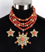 HELIETTA CARACCIOLO PARURE NECKLACE AND EARRINGS Late 70s /Early 80s Parure (necklace and earrings).