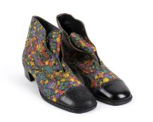 MAN LEATHER SHOES 70s Man leather shoes floral pattern Grado di condizione generale B