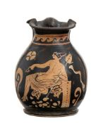 APULIAN RED-FIGURE TREFOIL OINOCHOE WITH SEATED DIONYSOS 4th century BC
