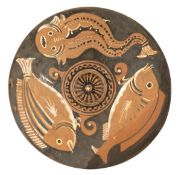 CANOSINE RED-FIGURE FISH PLATE Attribuited to the Black and White Stripes Painter of the Hippocampus