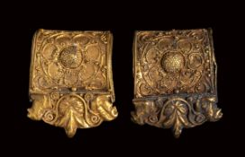 A pair of etruscan gold bauletto earrings.