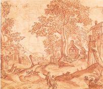 MATTHAEUS MERIAN THE ELDER (Basel, 1593 - Schwalbach, 1650) - Landscape with wayfarers and houses