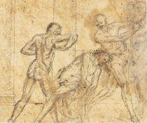 ROMAN SCHOOL, FIRST HALF OF THE 17th CENTURY - a (front): Flagellation of Christ; b (back): Flagella
