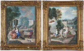 FRENCH SCHOOL, 18th CENTURY - Allegory of Flora in italianate garden - Mytological scene (Allegory o