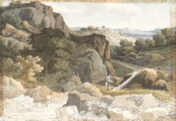 FELICE GIANI (San Sebastiano Curone, 1758 - Rome, 1823) - Rocky landscape with woodcutter