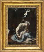 """ANONYMOUS 17th CENTURY - Madonna with Child """"La zingarella"""", copy after the painting by Antonio Alle"""