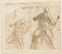 ROMAN SCHOOL, 17th CENTURY - Two studies on male nude (Neptune?)