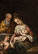 CENTRAL ITALIAN SCHOOL, SECOND HALF OF THE 16th CENTURY - Holy Family with young Saint John the Bapt
