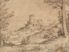 AMBIT OF PAUL BRILL (Antwerp, 1554 - Rome, 1626) - Extensive landscape with a large fortification an