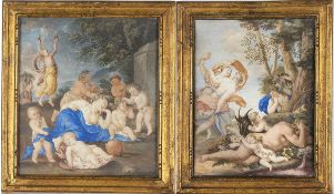 FLORENTINE SCHOOL, 18th CENTURY - A) Sleeping Venus surronded by amorini. B) Nymphs find out sleepin
