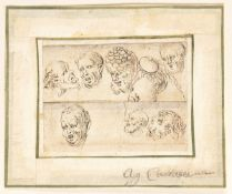 BOLOGNESE SCHOOL, FIRST HALF OF THE 17th CENTURY - Study of seven heads
