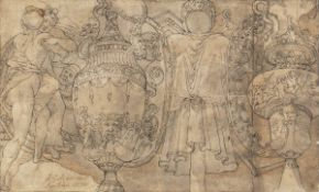 CENTRAL ITALIAN SCHOOL, 16th CENTURY - Study for two richly decorated and historiated amphorae and t