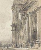 PIERRE LOUIS MOREAU (Paris, 1727 - 1794) - Profile of monumental church facade with figures below (p