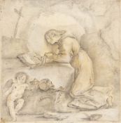 BOLOGNESE SCHOOL, 17th CENTURY - Penitent Magdalene in habit and sackcloth meditates on the Passion