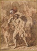 CENTRAL ITALIAN SCHOOL, LATE 16th / EARLY 17th CENTURY - Aeneas saves his father Anchises from the f
