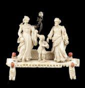 GROUPE EN IVOIRE ET CORAIL DE TRAPANI, 17ème SIECLELa Présentation au TempleGroupe en ivoir