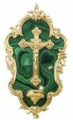 CHRIST EN CROIX ET BENITIERLe Christ, le bénitier et la monture de style baroque en bronze