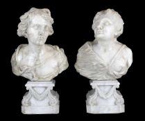 PAIRE DE BUSTES, Italie 17-18ème SIECLEDans le goût de BonazzaEn marbre blanc, reposant sur
