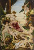 ECOLE ITALIENNE, 19ème SIECLEScène allégoriqueGrande huile sur sa toile d'origine. Restaura